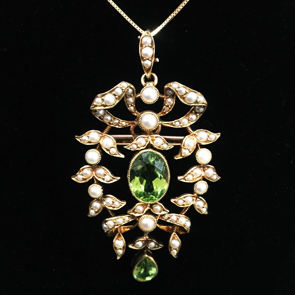 14k-seed-pearl-and-peridot-pendant-pin-necklace - Green Acres Antiques Marietta OH