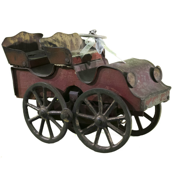 Vintage 1903 Clark Tin & Wood Toy Hill Climber Touring Car